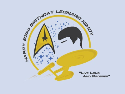 Live Long And Prosper star trek leonard nimoy 83 birthday space ship stars hair spock badge