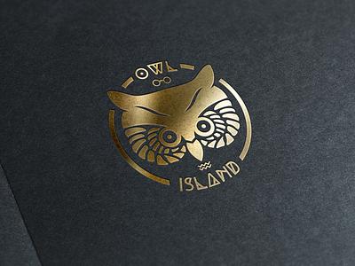 Own Island owl badge logo stamp gold