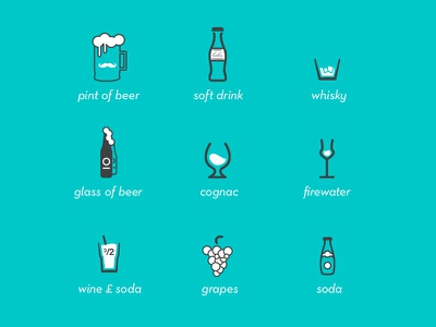 Drink set drinks beer soft pint whisky glass cognac firewater wine soda icons vector
