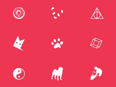 Various Icon Set icon animal vector lines hipster balance spiritual food harrypotter footprint