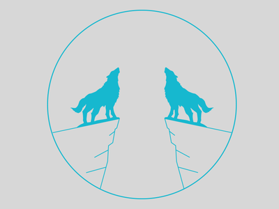 Wolf Pack vector wolf moon two