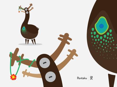 Creature / Pentaku strange mutant horn animal deer monster character creature