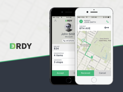 Erdy quick request order green ios package transport travel courier ux ui app