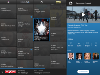 EPG Mockup for Client sketch landscape stream details ipad series tv epg
