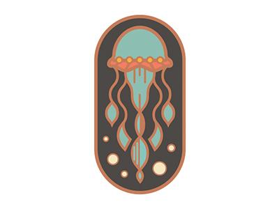 Jellyfish Enamel Pin Vector
