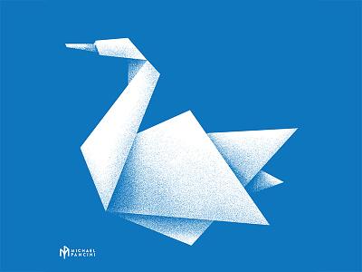 Origami Swan bird icon swan dissolve design graphicdesign screenprint illustration