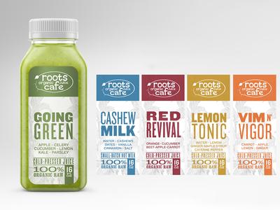 Roots Organic Juice Cafe Bottle Labels