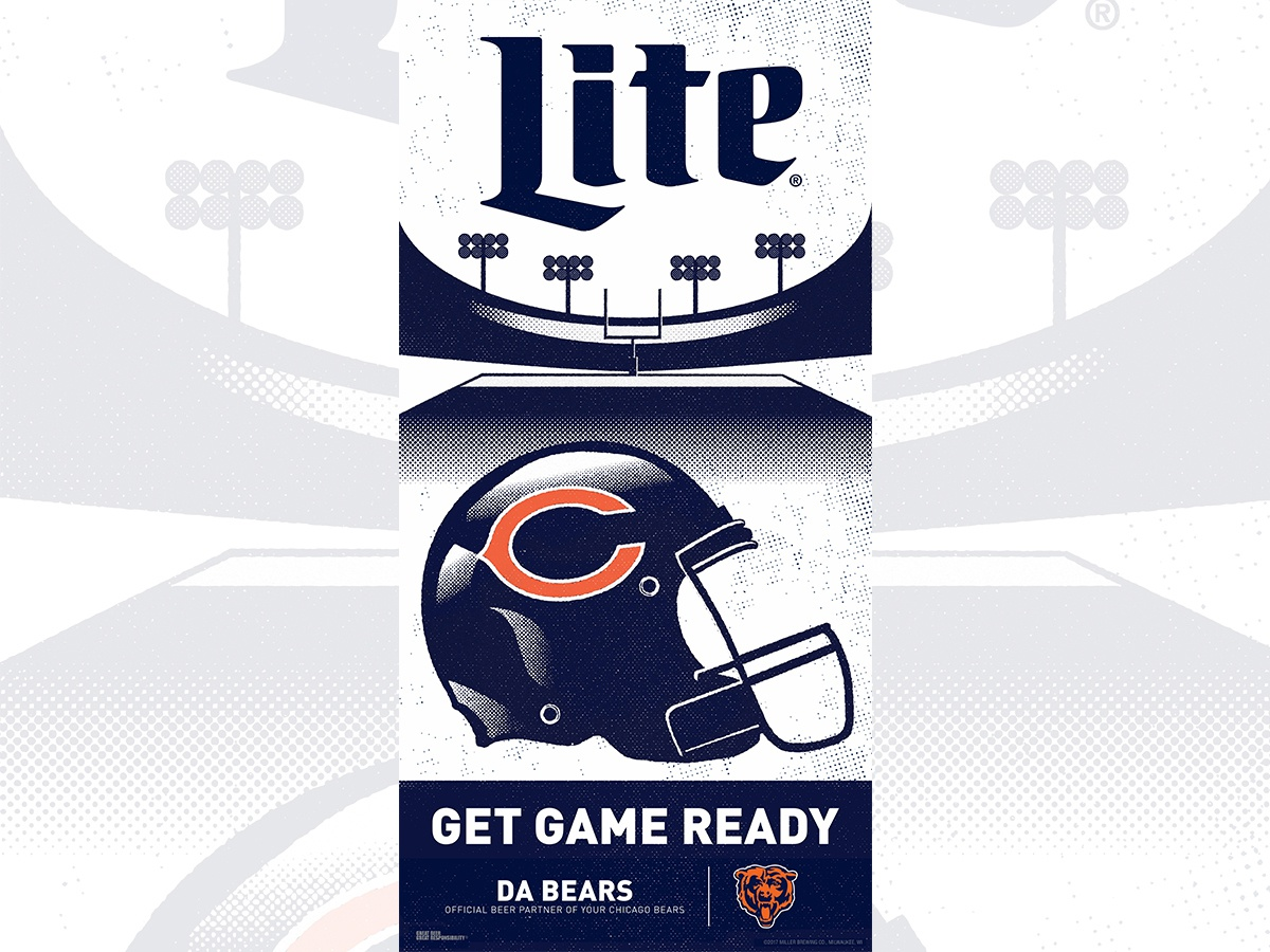 Miller Lite/Chicago Bears POP Illustration point of sale football beer graphicdesign design illustration