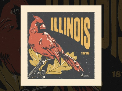 Illinois Stamp Illustration