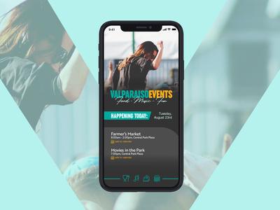 Valparaiso Events App Landing Screen