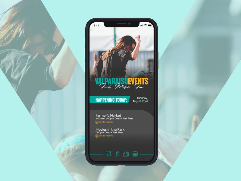 Valparaiso Events App Landing Screen app ux ui typography design graphicdesign