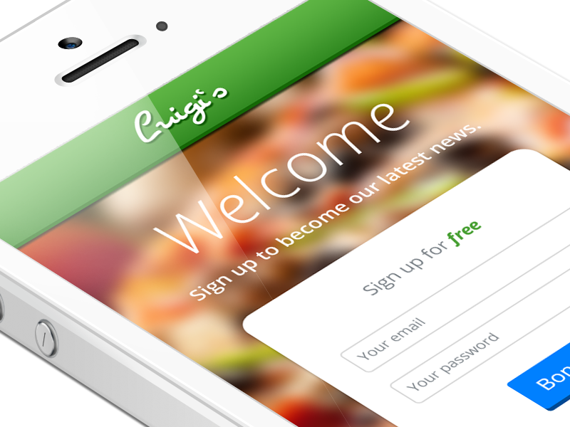 Luigi's – iPhone App / Sign Up ux ui user interface form login sign in sign up restaurant italy italian iphone
