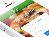 Luigi's – iPhone App / Sign Up