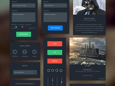 Dark UI Kit – Free download user interface ui freebie menu flat navigation download free icon button portfolio social