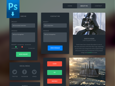 Dark UI Kit – Free download user interface ui freebie menu flat navigation download free icon button portfolio social