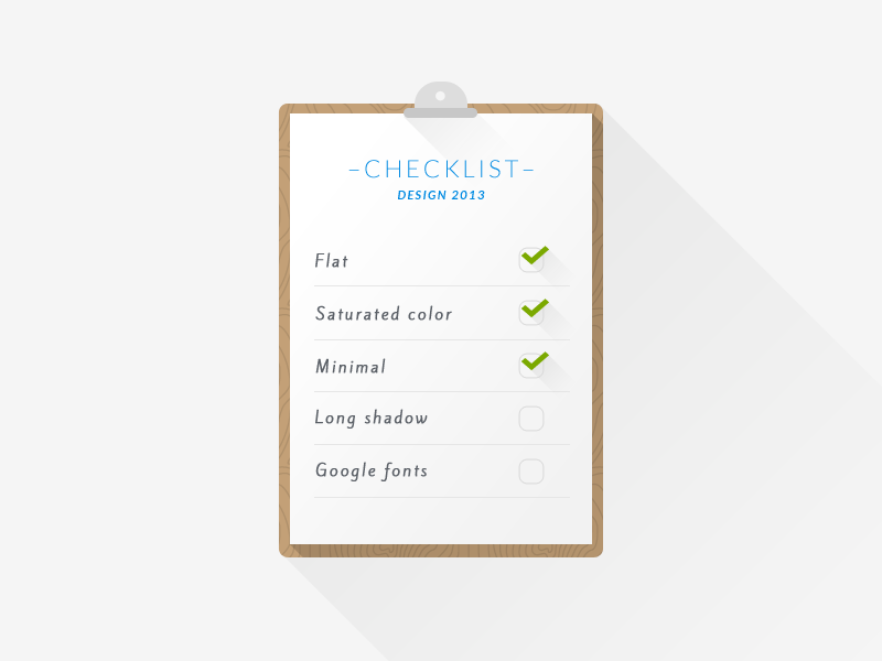 Checklist – Design 2013 flat ios7 minimal long shadow google fonts checklist check design 2013