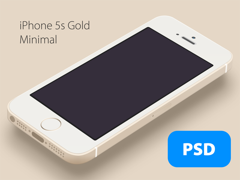 iPhone 5s Minimal Gold - Free PSD iphone5s iphone free psd flat gold minimal