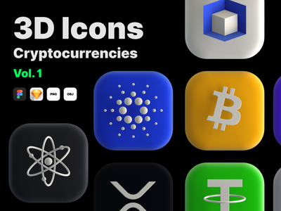 3D Icons - Cryptocurrency icons ios app ux website ui iconset icon 3d cryptocurrency crypto bitcoin