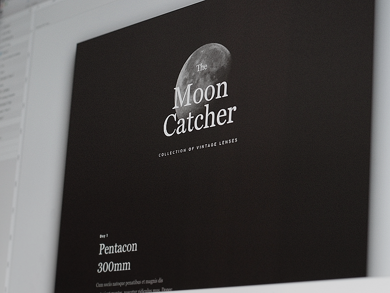 The Moon Catcher serif typography black vintage astro moon camera review lenses collection website