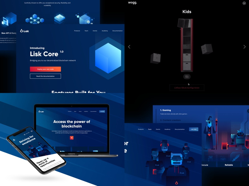 2018 - Top 4 cryptocurrency blockchain branding illustration website ui