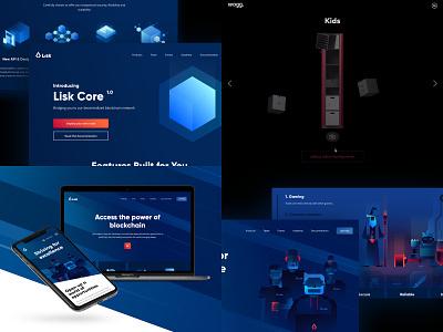 2018 - Top 4 cryptocurrency blockchain branding illustration website ui