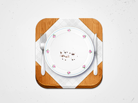 Food iOS Icon – Plate Floral Pattern