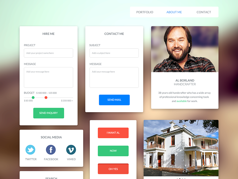 UI Kit – For handcrafter and freelancer flat ui user interface ux icon icons button buttons freelancer portfolio website gui budget social metro menu navi navigation design preview