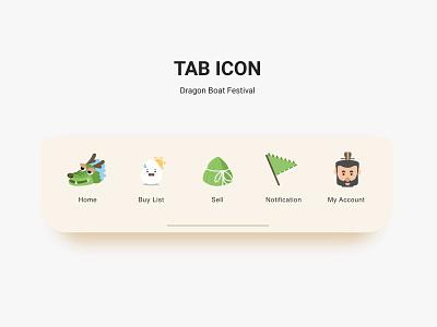 Dragon Boat Festival illustraion zongzi dragon tab icons