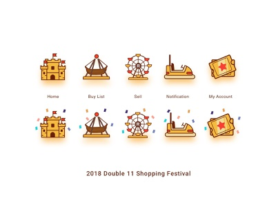 2018 Double 11 Shopping Festival double11 play shopping app app icon ui tabsicons