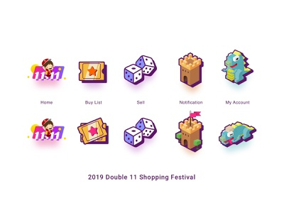 2019 Double 11 Shopping Festival ui tabsicons shopping app icons double11 app