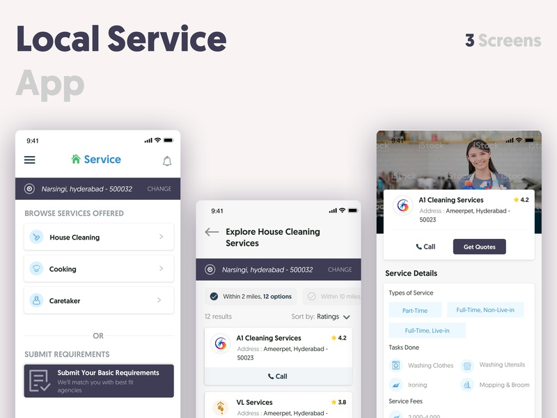 Local Service App mobile app mobile ui ux wireframes typogaphy household service app