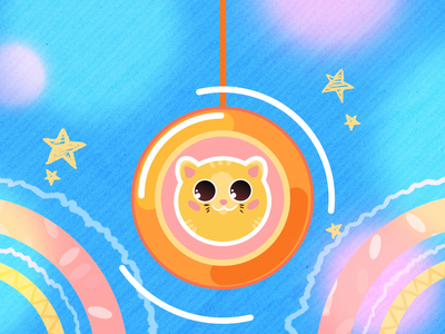 Yo-yo flame flat funny fun cat stroke after effects 2d 2d animation behind the scenes fire particles toy child loop character illustration gif animation
