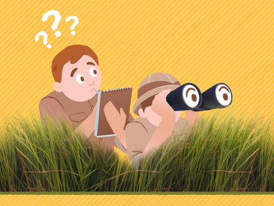 Scientists grass 2d character animation after effects character design binoculars question notes 2d animation behind the scenes loop character illustration gif animation