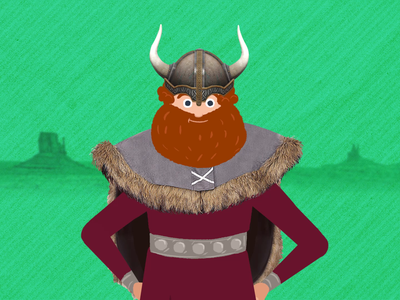 Viking's Pass character animation helmet past dna green card axe horns american viking after effects 2d 2d animation behind the scenes loop character illustration gif animation