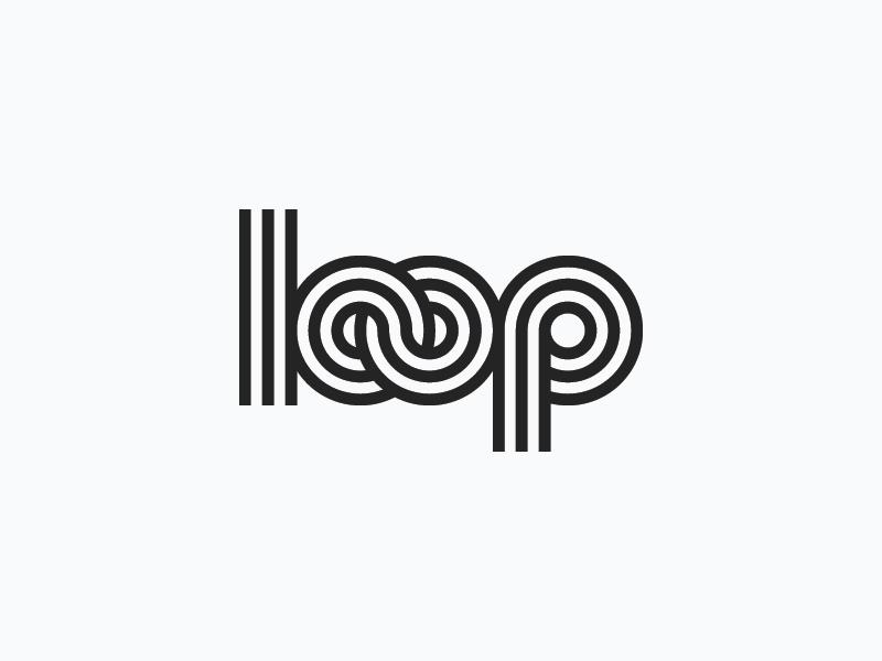 loop loop stroke slants ratios outline monogram mark logo lines wordmark branding