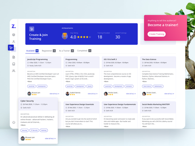 Trainings skills dashboard online learn creative ui dashboard ui dashboard design training dashbaord online learning online training dashboard ux typography ui branding ui designer design