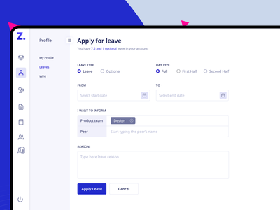 Apply Leave dashboard designs idea dashboard ui hr tool leaves forms form designs leave apply form dashboard design typography branding ui designer design
