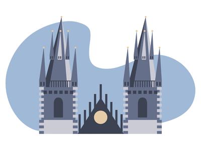 Prague castle tower computer art digital art vector art vector illustrator illustration czech republic prague