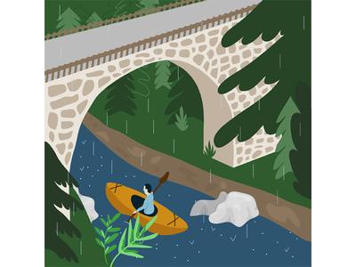 Kayaking in the rainy mountains vector art computer art digital art illustrator illustration bridge mountains extreme sport lifestyle nature kayak