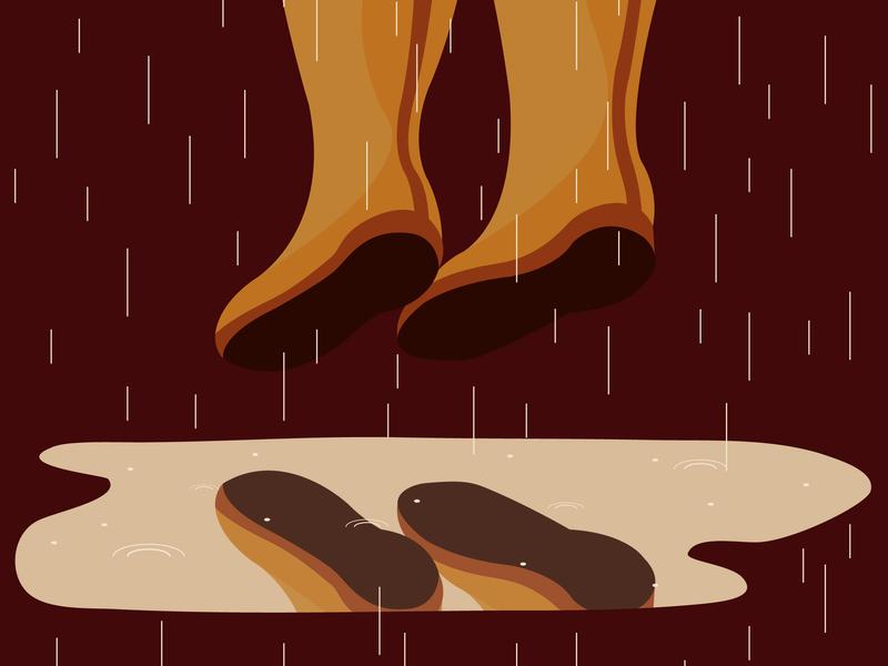 Puddle vector illustration illustrator rain jump wellingtons autumn activity autumn puddle
