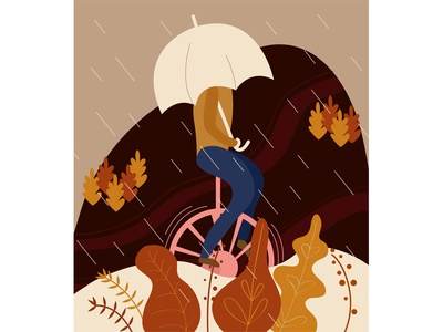 Monocycle designer design digital art vector illustrator illustration rain autumn monocycle