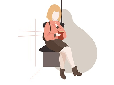 Snacking in the tram daily life daily illustration digital illustration vector art vetor illustration public transportation snack tram