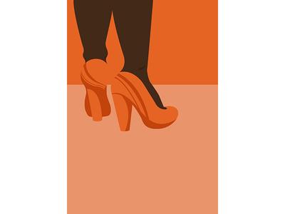 Heels legs vector orange art illustration female woman heels
