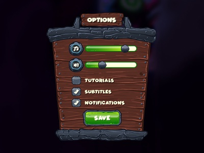 GUI - Options Panel game stone wood slider tickbox button optionspanel options gameui ui gui