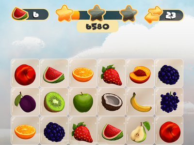 [NEW style] Fruit Match 3 game design 2d ui fruit illustration photoshop gameui game