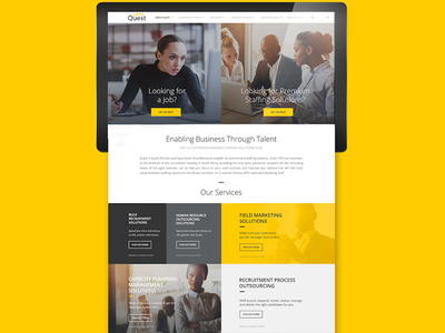 Quest UI Design design recruitment yellow website ui