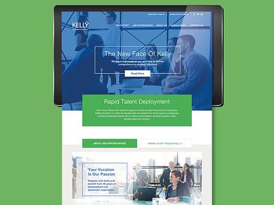 UI Design for Kelly responsive design b2b blue green website ui