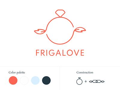 Frigalove logo wings linear minimalism nordic freya frigg ring love wedding identity branding and identity branding logo
