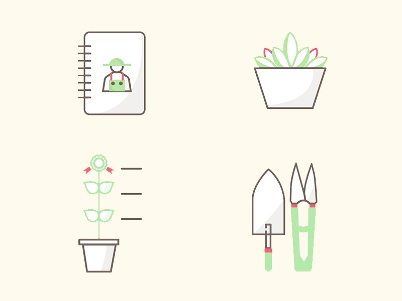 Gardening app icons nature green plant flower icon illustration app application garden gardening icons
