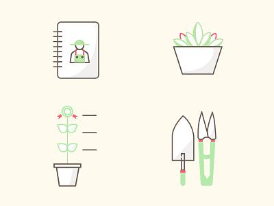 Gardening app icons nature green plant flower icon illustration app application garden gardening icons